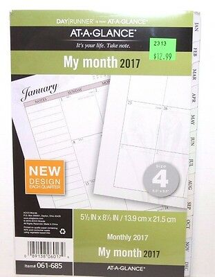At-A-Glance Day Runner Monthly Planner Refill Size 4 Loose-Leaf Planner 061-685