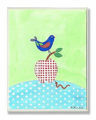 The Kids Room by Stupell Bird Perched on Red Gingham Apple Rectangle Wall Plaque
