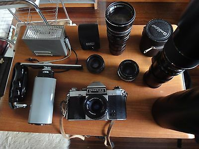 Vintage  Praktica Pl Nova 1 35 Mm Camera & Assortment Of Lenses