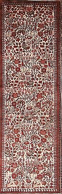 Animal Pictorial Ivory/Red Runner 3x9 Wool Nahavand Hamadan Persian Oriental Rug