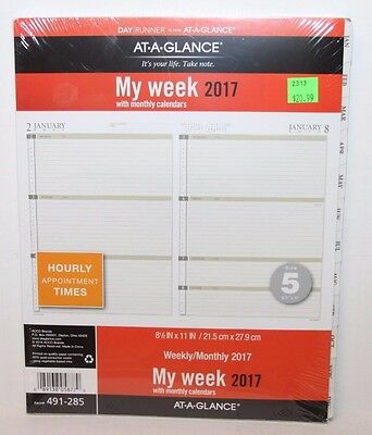 At-A-Glance Day Runner Weekly Calendar Planner Refill Sz 5 Loose-Leaf 491-285