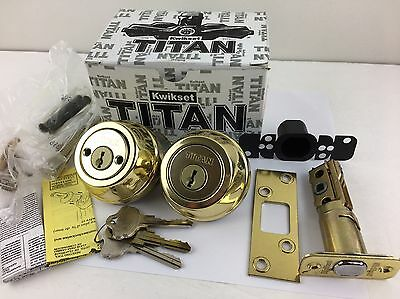 Kwikset TITAN 785 3 RCAL Series Double Cylinder Polished Brass Deadbolt SmartKey