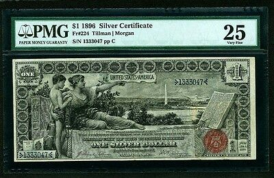 "U.s. 1896 $1 ""educational"" Silver Certificate Banknote Fr-224 Certified Pmg Vf25"