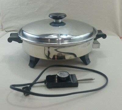 "Vtg Society Regal 12"" Electric Skillet Stainless Steel Oil Core 7253 Immersible"