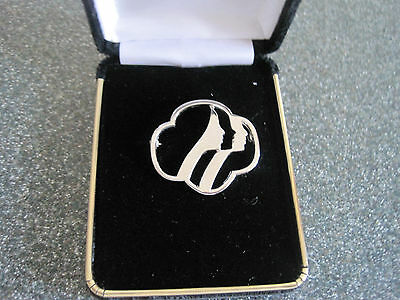 NEW Girl Scout Trefoil Pin brooch Silver jewelry GIFT collectible Rhodium? ~Box
