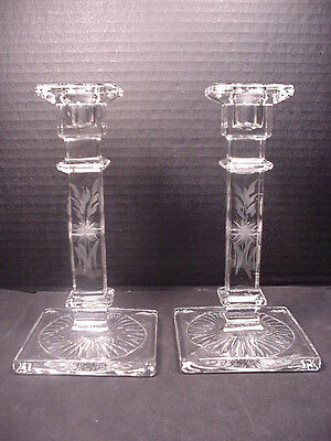 CANDLESTICKS HOLDERS Pair Early 20th C Etched Glass Matching Set No Chips
