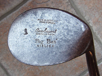 Antique Vintage Ben Sayers Big Ben Hickory Wood Shaft Golf Club Giant Niblick