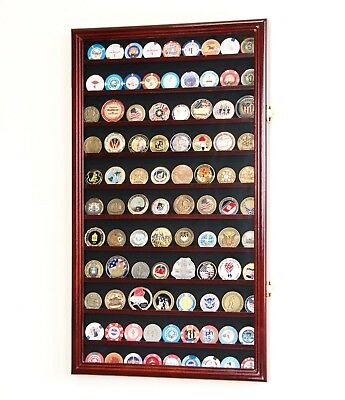 88 Challenge Coin Display Case Holder Cabinet Rack 98% UV - Adjustable Shelves
