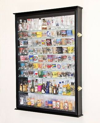 XL Shot Shooter Glass Display Case Cabinet Rack Wall Holder Glasses Mirror Back