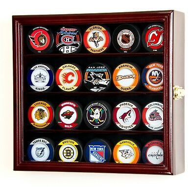 20 NHL Hockey Puck Display Case Cabinet Holder Rack UV