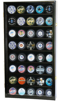 40 Hockey Puck NHL Display Case Cabinet Holder Rack 98% UV Lockable 4 Colors