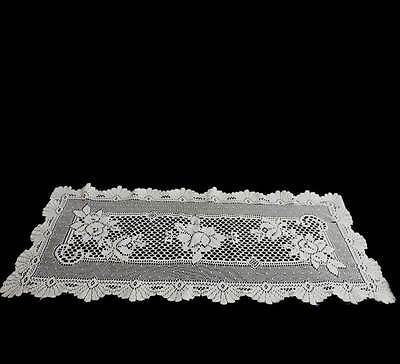 Vintage cream lace pretty long table runner or centrepiece measuring approx 84cm