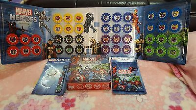 Woolworths Marvel Heroes Full Complete Set 42 Discs + Album, Tin, Lanyard & Bag