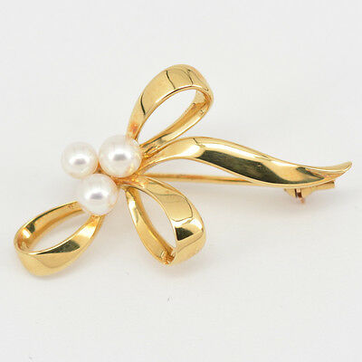 Authentic Mikimoto Brooch Pearl 3.8~4.6mm 18K Yellow Gold #1507