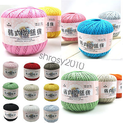 Wholesalepopular 25 Colors Lace Soft Crochet Cotton Yarn Hand