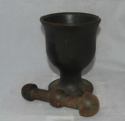 Antique Footed Cast Iron Mortar and Dual Pestle