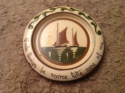 Aller Vale Pottery Coaster/Dish With Boat 'Gude Things Be Scarce Take Care Of Me
