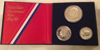 Vintage United States Bicentennial Silver Proof 3 Coin Set 40% Silver, COA