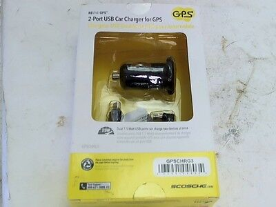 Scosche GPSCHRG3 GPS Phone 2-Port USB Universal Car Charger 3Ft Cable