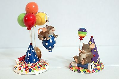 Charming Tails - 2 Party Figures  89/131 and 89/164 ornament stand hat mouse