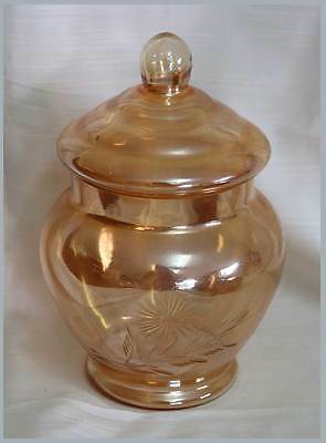 Vintage peach lustre carnival irridescent glass lidded etched daisy jar 17cm tal