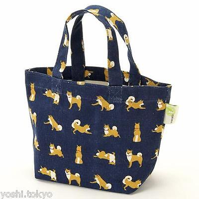 Shiba inu dog Shibatasan mini tote bag navy JAPAN cotton NEW