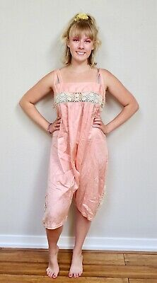 Antique 1920s Flapper Pink Silk All In One Combination Knickers Bobbin Lace 42B