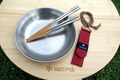 New Snow Peak Carry On Chopsticks  Lightweight Stainless Steel Bamboo Chopsticks