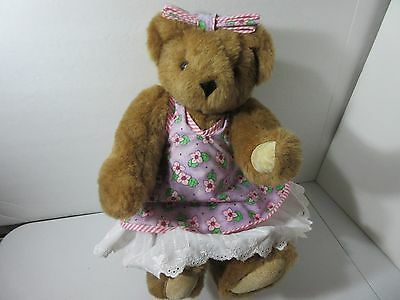Vermont Teddy Bear Jointed Bear Flowered Dress Embroidered 1997