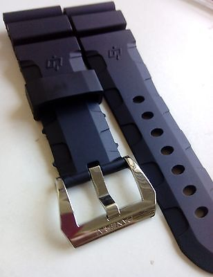 26mm black rubber watch band w oem buckle fit panerai
