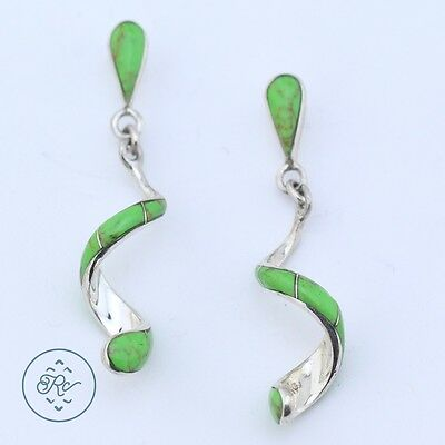 Sterling Silver | SOUTHWESTERN Gaspeite Inlay Spiral | Post Earrings