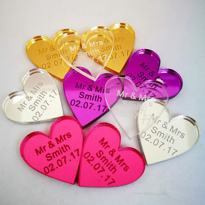 Personalised Wedding Heart Favours Engraved Charm Table Decorations Mr & Mrs