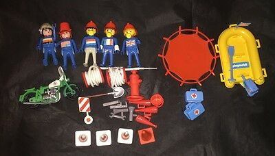 Vintage Playmobil Firemen And Accessories Lot