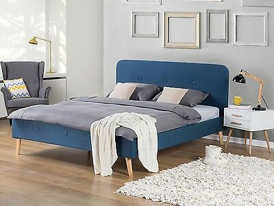 Bed, upholstered, double bed, bedroom, panel bed, dark blue