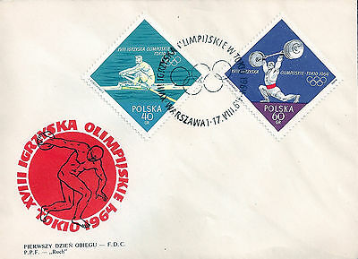 FDC 1964 Poland Polska Tokyo Olympic First Day Cover 1258-59