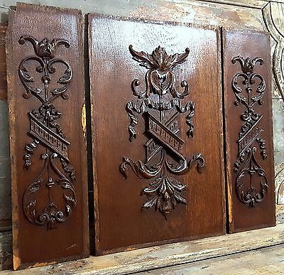 HAND CARVED WOOD PANEL THREE MATCHED ANTIQUE FRENCH  BOW SALVAGED CARVING 19 th