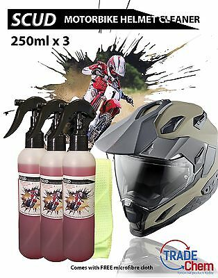 SCUD - 250ml x 3 Motor Bike Helmet Cleaner / Degreaser + FREE Microfiber Cloth