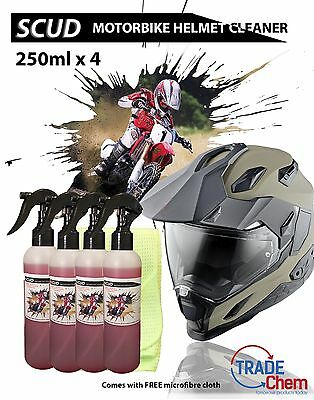 SCUD - 250ml x 4 Motor Bike Helmet Cleaner / Degreaser + FREE Microfiber Cloth