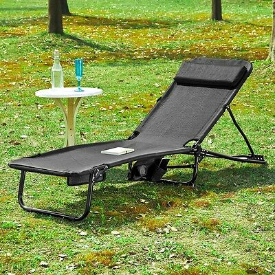 SoBuy Garden Chair, Deck Chair, Sunlounger, Recliner Chair, Black, OGS27-SCH, UK
