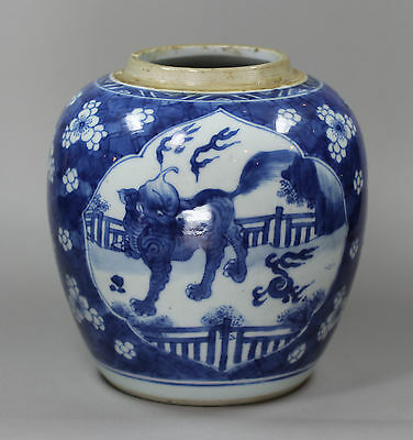 Antique Chinese porcelain blue and white ginger jar, Kangxi (1662-1722)