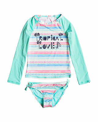 NEW ROXY™  Girls 2-7 Palmo Kids Long Sleeve Rash Vest Set Girls Surf