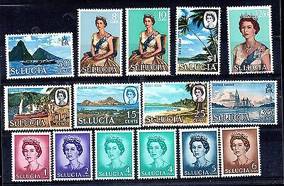 St Lucia QEII 1964 mint LHM set SG197-210 and SG199A WS4777