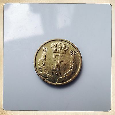 Luxembourg 1988 5 Franc Coin from 1988 Vintage Coin Money