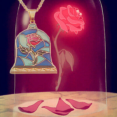 New Beauty And The Beast Stained Glass Red Rose Dome Pendant Necklace Gold