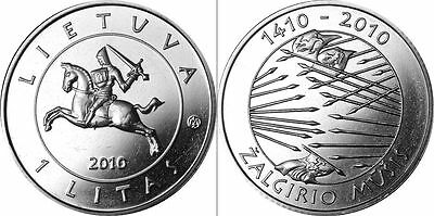 Lithuania,1 litas coin, dedicated to the 600th Anniversary of the Battle of,UNC.
