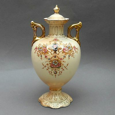 Antique Floral Blush Ware Vase ~ 2 Handles & Cover ~ 24cm ~ Crown Devon England