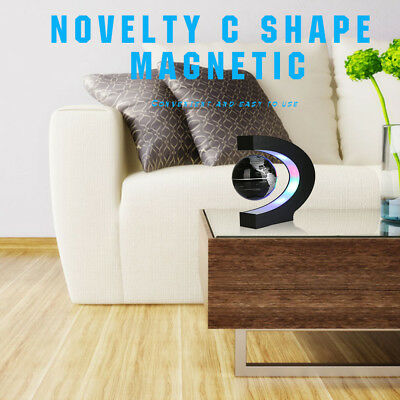 Novelty C Shape Magnetic 3 Inches Floating Globe with Colorful LED Lights Decor