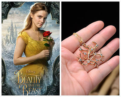 New Beauty And The Beast Belle Gold Enchanted Rose Tree Branch Pendant Necklace