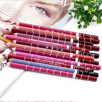 Set of 12pcs 12 Colors Girl's Pro Lipliner Waterproof Lip Liner Pencil 15CM HOT