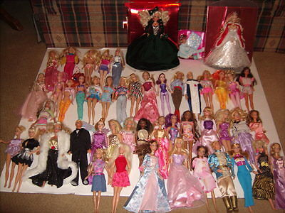LARGE LOT OF 49 MATTEL BARBIE KEN DOLLS with Clothes Various Years